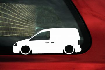 2x Low car outline stickers - for Volkswagen caddy van 2k (mk3) vw